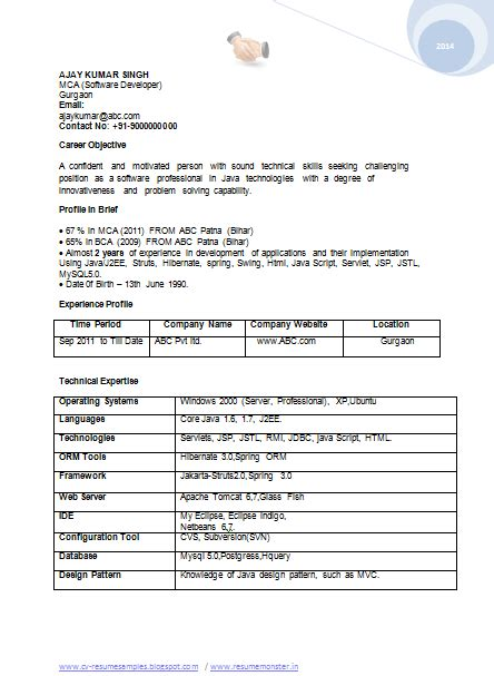 best resume format for bca student bca sle resume sle resume