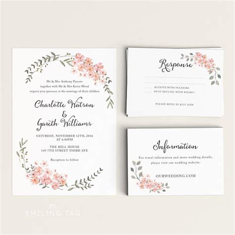 printable invitation wedding cards printable wedding invitation set watercolor floral