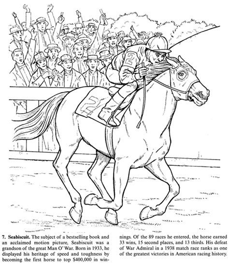 coloring pages of race horses coloring page of the seabiscuit color