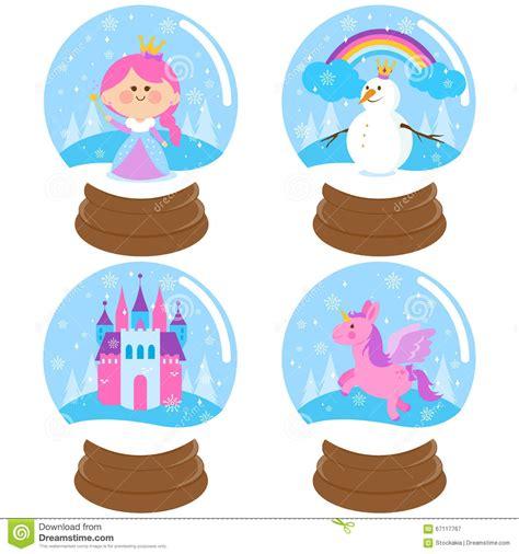 Delightful Brass Christmas Tree Ornaments #6: Fairy-tale-snow-globe-vector-set-illustration-beautiful-princess-castle-snowman-unicorn-inside-globes-67117767.jpg
