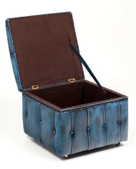 Blue Leather Ottoman Vintage Steel Blue Leather Chesterfield Storage Ottoman At 1stdibs