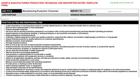 Manufacturing Technician Description by Manufacturing Production Technician Description Sle Descriptions And Duties