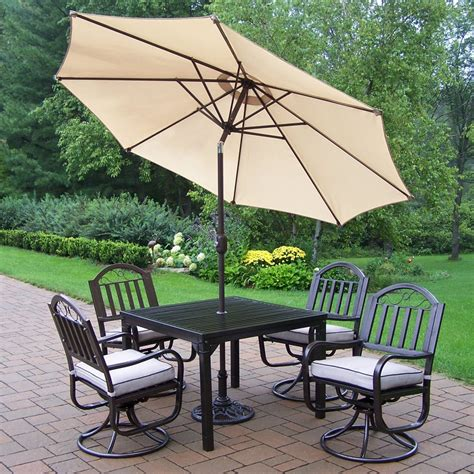 Patio Dining Set With Umbrella Oakland Living 6135 6128 4005 B Rochester 6 Outdoor Umbrella Dining Set Atg Stores