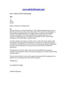 termination of employment letter sample sample business