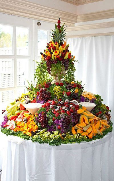 fruit table maybe with a lemon topiary in the center wedding cocktail