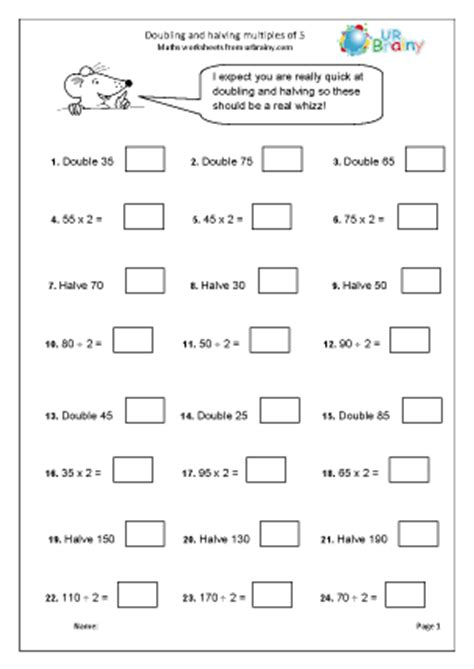 printable worksheets for halving numbers doubling and halving multiples of 5