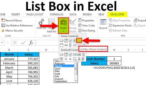list box  excel examples   create list box