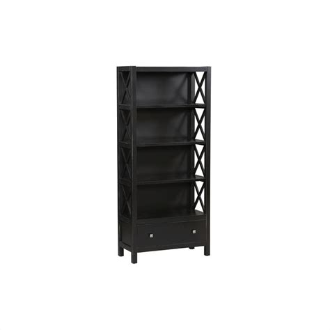 linon 5 shelf wall distressed antique black bookcase