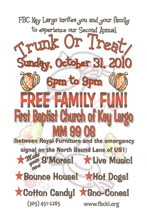 trunk or treat flyer baptist church of key largo fl