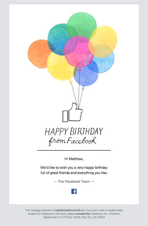 Happy Birthday From Facebook Really Good Emails Birthday Card Email Template