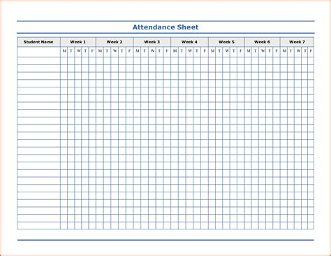 printable attendance sheet for teachers