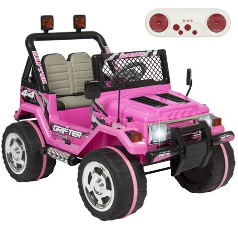 pink kids jeep 12v ride on car truck remote control leather seat uv