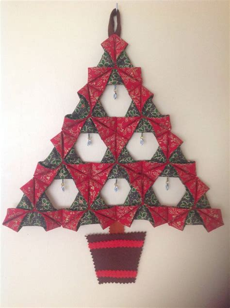 Fabric Origami Tree - folded fabric tree sewing projects etc