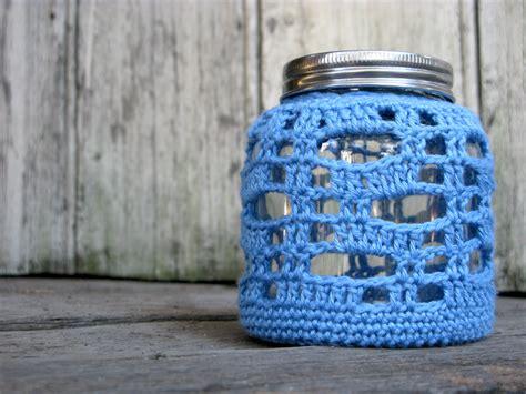 Chompa Handmade - crocheted lantern candle holder glass jar teal