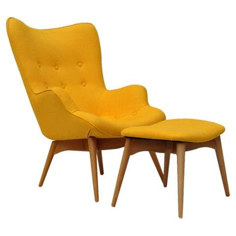 Houseofaura Com Yellow Chair With Ottoman Wood And Pale