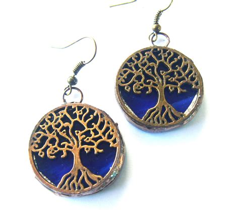 glass jewelry tree earrings blue stained glass jewelry by tocasol on etsy