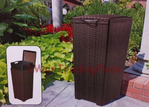 outdoor patio garbage can new wicker 30 gallon resin trash can bin waste basket deck