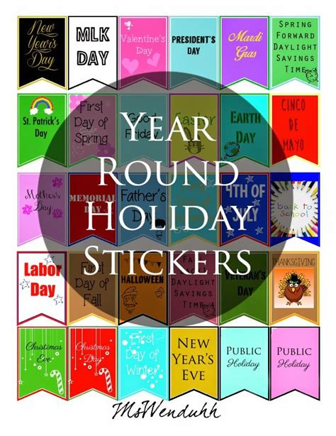 printable calendar holiday stickers year round holiday stickers a well public and calendar