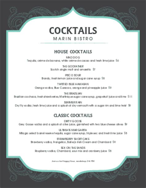 Cocktail Menu Templates And Designs Musthavemenus Cocktail Menu Template Free