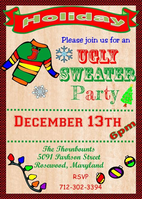 Ugly Sweater Invitation Template Free Ugly Sweater Party Flyer Template Free Superb Sweater Flyer Template