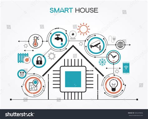 smart home automation technology infographics stock vector smart home control concept smart house stock vector