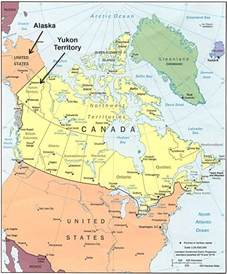 map of the yukon territory in canada map of yukon and alaska