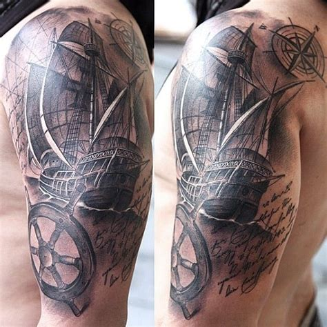 tattoo upper arm ship sleeve arm by miguel tattoos
