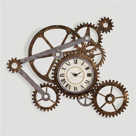 art wall clock gear wall art with clock world market