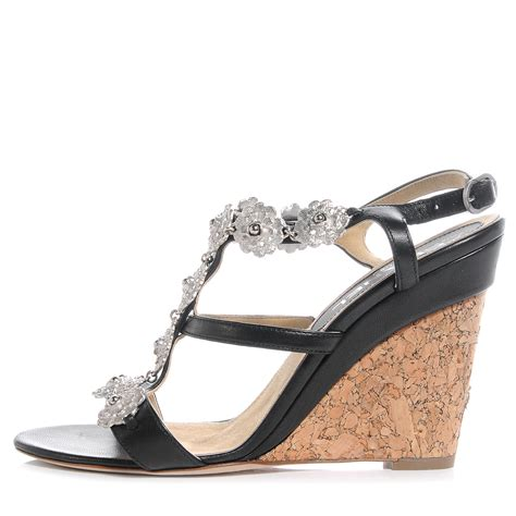 silver cork wedge sandals chanel lambskin cork camellia wedge sandals black silver