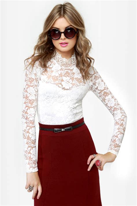 Sleeve Top Combi Plaid Lace ivory top lace top sleeve top 37 50