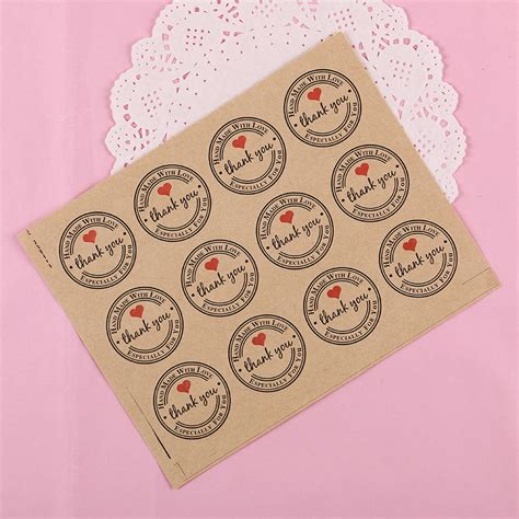Paper Tags Sticker Thank You 120pcs set thank you retro stickers kraft paper label thank you sticker labels paper