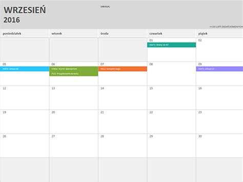 kalendarz excel 2016 kalendarz 2016 excel calendar template 2016