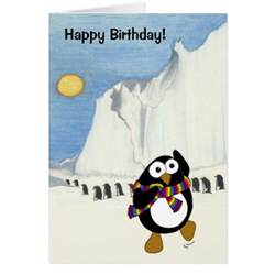 penguin happy birthday greeting card zazzle