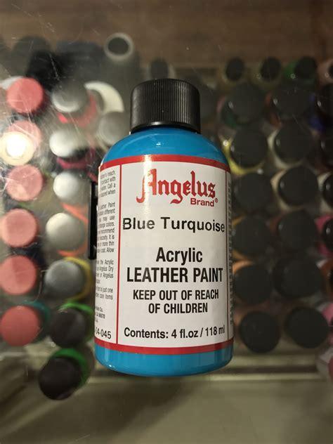 angelus paint vs angelus blue turquoise acrylic leather paint 4 fl oz