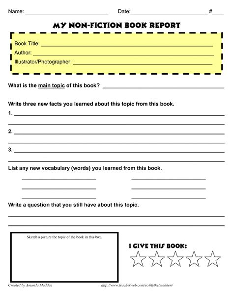 informational book report template my non fiction book report pinteres