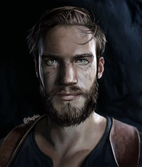 pewdiepie as nathan drake portrait uncharted 4 by