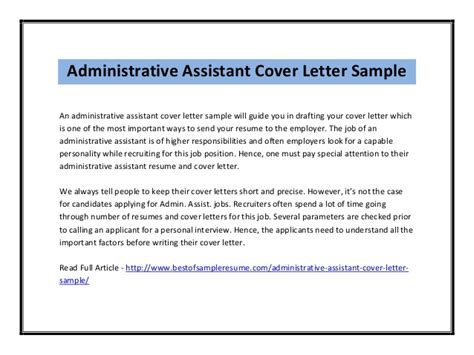 gallery of administrative assistant cover letter resume cover