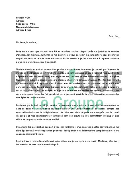 Lettre De Motivation Pour Visa De Circulation Cover Letter Exle Exemple De Lettre De Motivation Pour Un Emploi Rh