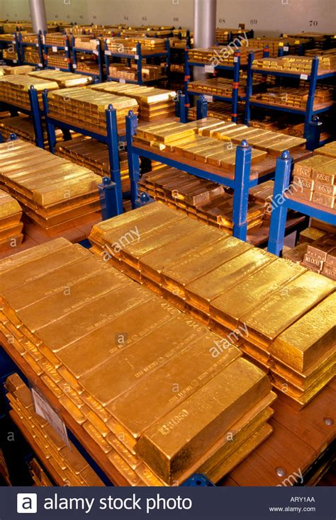 Gold Ank 1 gold bars ingots in the gold vault the bank of