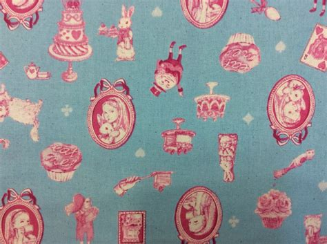 Rabbit Quilt Fabric by In White Rabbit Tea Cakes Childhood Heavy