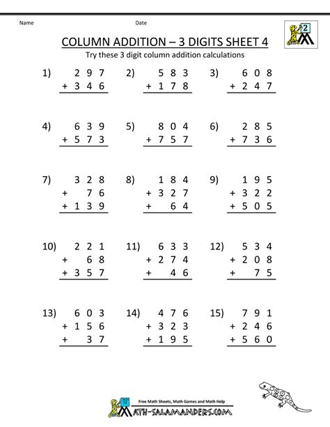 printable free math sheets free coloring pages of 3 digit addition