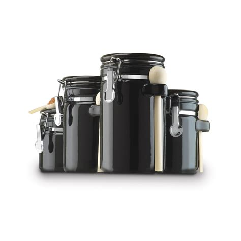 Black Kitchen Canisters by 100 Kitchen Canisters Flour Sugar Colorful
