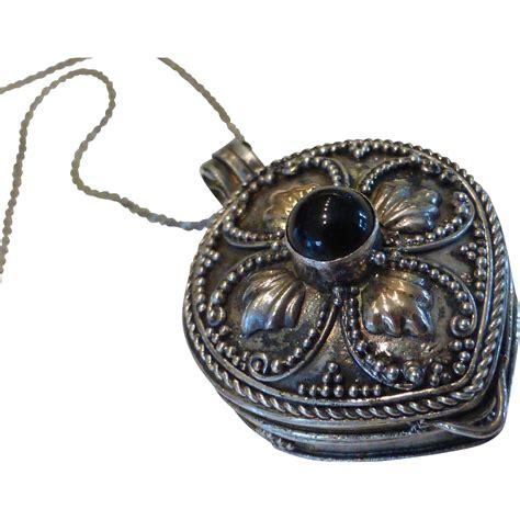 Garnet Necklace Sterling Silver vintage garnet sterling silver locket necklace pill holder