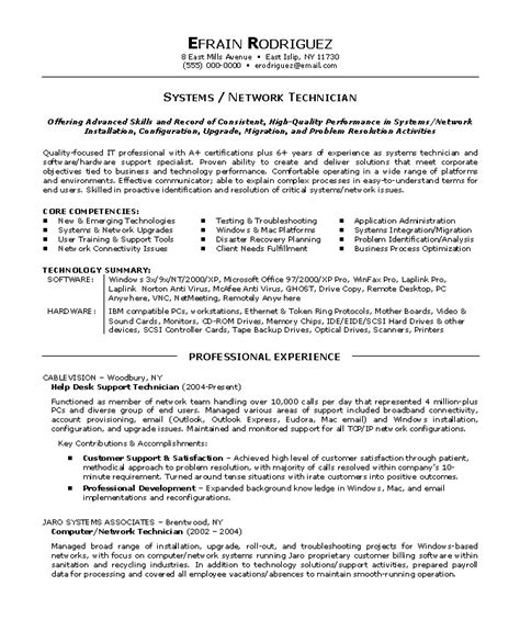 Technician Resume Objective Network Technician Resume Sle Exle
