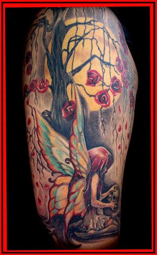 rose and fairy tattoo flowers tree and on half sleeve