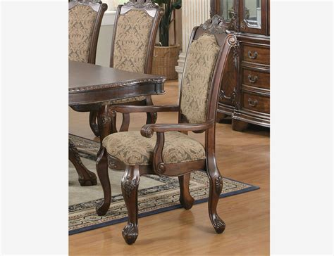 Formal Dining Room Chair Cushions Coaster 2 Pc Formal Brown Cherry Wood Dining Arm Chairs