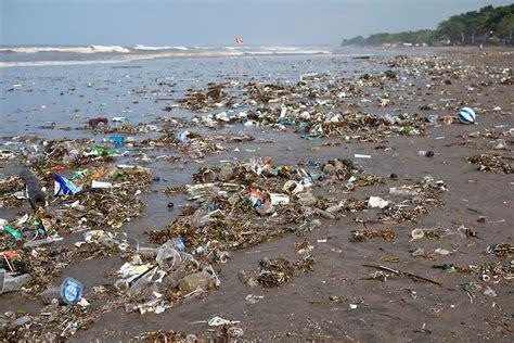 plastic waste  rubbish  kuta beach bali indonesia