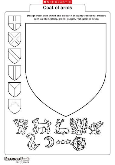 coat of arms template for students heraldry coloring pages