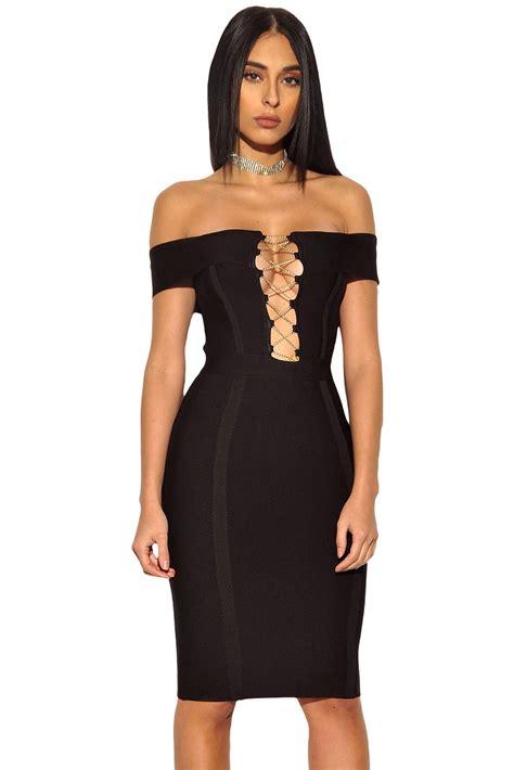 clothing bandage dresses gaia black lace and bandage gold chain crisscross lace up black bandage dress