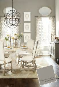 Table And Chairs Dining Room Benjamin Galveston Gray Dining Room With Pedestal Table And White Upholstered Chairs